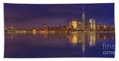 Manhattan, New York At Dusk Panoramic View Beach Towel