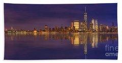 Manhattan, New York At Dusk Panoramic View Beach Sheet
