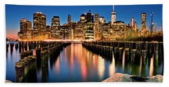 Manhattan Skyline At Dusk Beach Towel