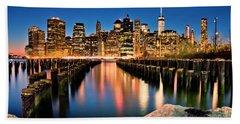 Manhattan Skyline At Dusk Beach Sheet
