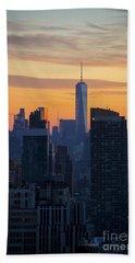 Manhattan Skyline At Dusk Beach Towel by Diane Diederich