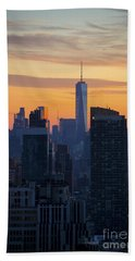 Manhattan Skyline At Dusk Beach Sheet