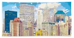 Manhattan Skyline New York City Beach Towel