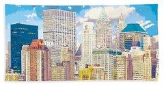 Manhattan Skyline New York City Beach Sheet