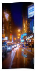 Manhattan Theater District Beach Sheet by Mark Andrew Thomas