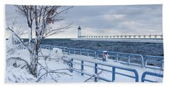Manistee Pierhead Light-5 Beach Towel
