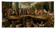 Mankind's Eternal Dilemma, The Choice Between Virtue And Vice Beach Towel
