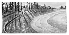 Manly Beach In Black And White Beach Towel