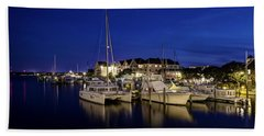 Manteo Waterfront Marina At Night Beach Towel