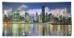 Manthattan Reflection Beach Towel by Steve Archbold