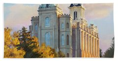 Manti Temple Tall Beach Towel by Rob Corsetti