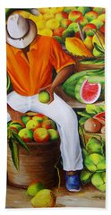 Manuel The Caribbean Fruit Vendor  Beach Towel