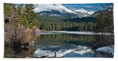 Manzanita Lake Reflects On Mount Lassen Beach Sheet