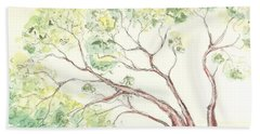 Beach Towel featuring the painting Manzanita Tree by Maria Langgle