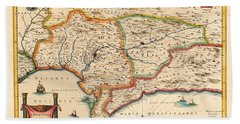 Map Of Andalusia 1650 Beach Towel by Andrew Fare
