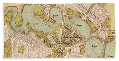 Map Of Canberra 1913 Beach Towel by Andrew Fare