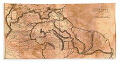 Map Of Caracas 1814 Beach Towel by Andrew Fare