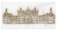Map Of The Castle Chambord Beach Towel by Anton Kalinichev