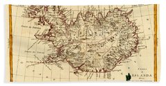 Map Of Iceland 1791 Beach Towel by Andrew Fare