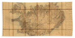 Map Of Iceland 1849 Beach Towel by Andrew Fare