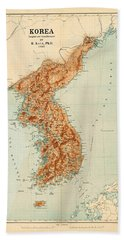 Map Of Korea 1903 Beach Towel by Andrew Fare