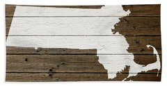 Map Of Massachusetts State Outline White Distressed Paint On Reclaimed Wood Planks Beach Towel