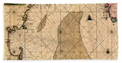 Map Of New England 1700 Beach Sheet by Andrew Fare
