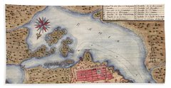 Map Of San Juan 1770 Beach Towel by Andrew Fare