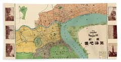 Map Of Shanghai 1908 Beach Towel by Andrew Fare