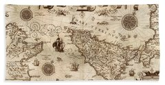 Map Of Sicily 1594 Beach Towel by Andrew Fare