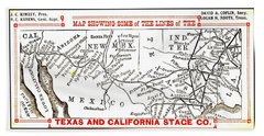 Map Of Texas And California Stage Company Line 1880s Indian Territory Austin Houston Northern Mexico Beach Towel