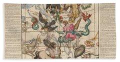 Map Of The Constellations Hercules, Sagittarius, Scorpius, Libra - Celestial Map - Antique Map Beach Towel