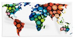 Map Of The World 1 -colorful Abstract Art Beach Towel