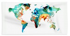 Map Of The World Beach Towels