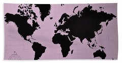 Beach Towel featuring the photograph Map Of The World Pink by Rob Hans