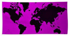 Beach Towel featuring the photograph Map Of The World Purple by Rob Hans