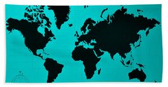 Beach Towel featuring the photograph Map Of The World Turquoise by Rob Hans