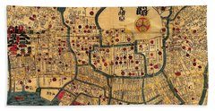 Map Of Tokyo 1845 Beach Towel by Andrew Fare