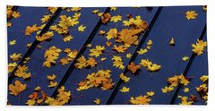 Maple Leaves On A Metal Roof Beach Towel