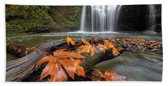 Maple Leaves On Tree Log At Hidden Falls Beach Towel