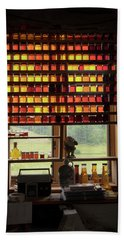Beach Towel featuring the photograph Maple Syrup Window by Tom Singleton