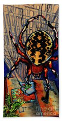 Marbled Orbweaver Beach Sheet by Emily McLaughlin