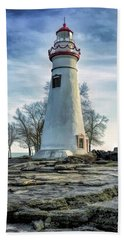 Beach Towel featuring the painting Marblehead Lighthouse by Christopher Arndt