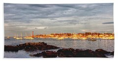 Beach Towel featuring the photograph Marblehead Neck From Fort Beach by Jeff Folger