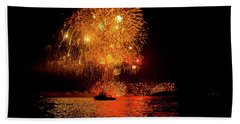 Beach Towel featuring the photograph Marblehead Fireworks by Jeff Folger