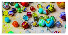 Marbles On Old Table Beach Towel