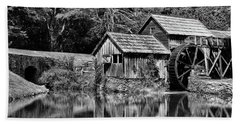 Marby Mill In Black And White Beach Sheet by Paul Ward