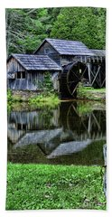 Beach Towel featuring the photograph Marby Mill Reflection by Paul Ward