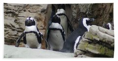 Beach Towel featuring the photograph March Of The Penguins by B Wayne Mullins
