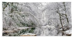 March Snow Along Cranberry River Beach Towel